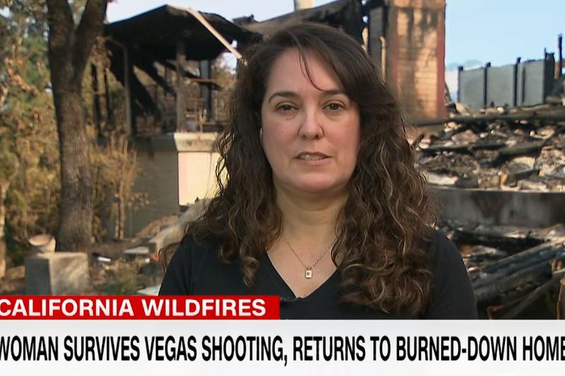 美國女子佛羅雷斯在賭城大屠殺保住一命,但家園被森林大火吞噬(翻攝影片)