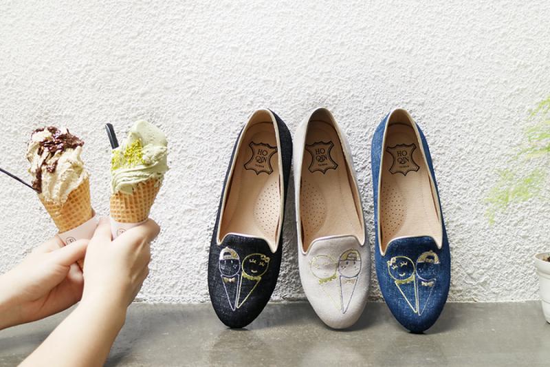 HoQin義式冰淇淋繡線樂福鞋(圖/張瑋容提供)