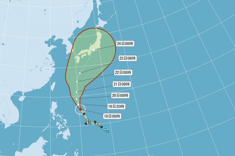 氣象達人彭啟明表示,蘭恩颱風(LAN)預計21日最靠近台灣,北部和中南部地區可能出現攝氏20度以下的低溫。(取自中央氣象局)