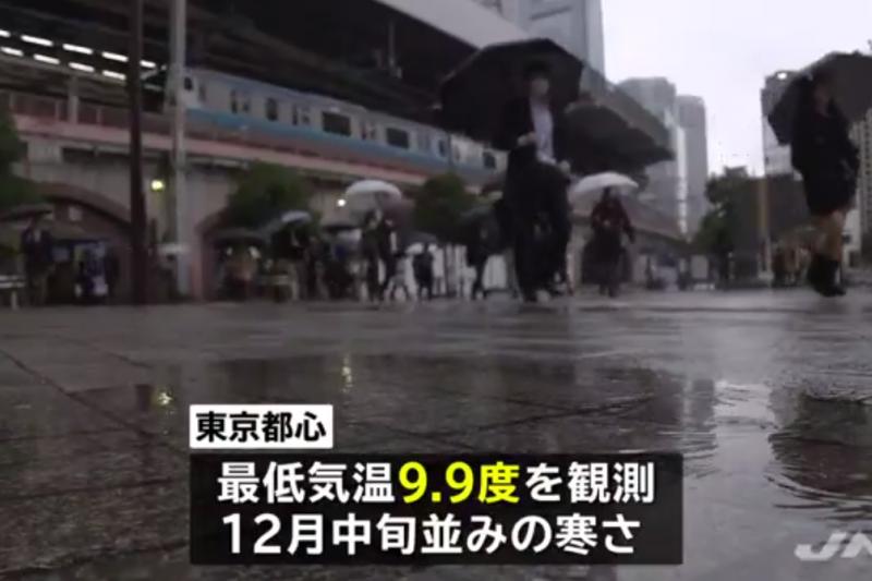 受東北季風侵襲影響,日本各地飄雨,東京都心睽違31年10月最低溫破10度。(翻攝影片)