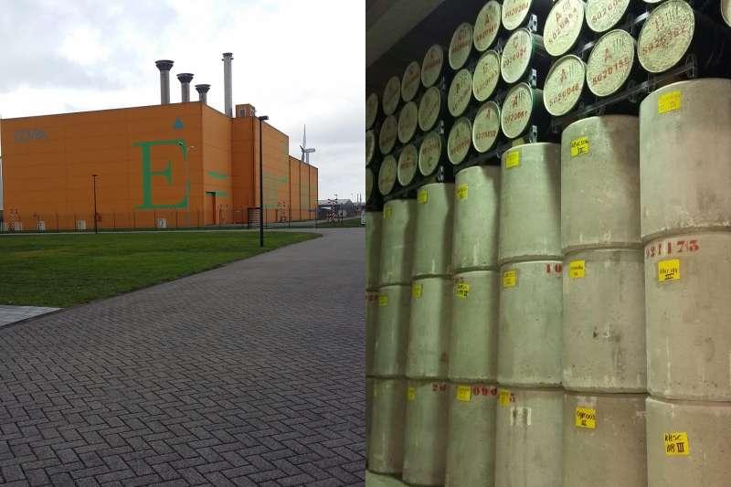 荷蘭核廢料處置場COVRA場區外觀(左),及低階核廢料放置處(圖/作者│想想論壇提供)