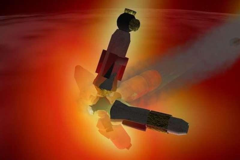 電腦模擬和平號太空站2001年隕落時進入大氣層時的景象。(BBC中文網)