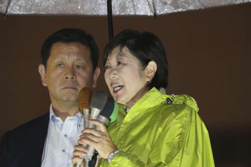 日本眾議院大選2017年10月22日登場,希望之黨領導人小池百合子在投票前夕全力為黨籍候選人助選(AP)