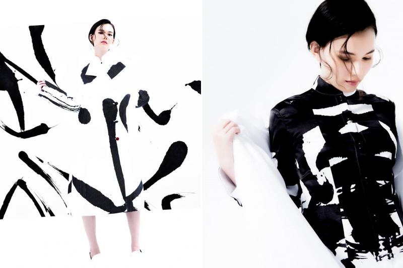 知名書法家董陽孜與服裝設計師合作跨界玩書法,成果令人十分驚艷。(圖/ApuJan詹朴臉書粉專)