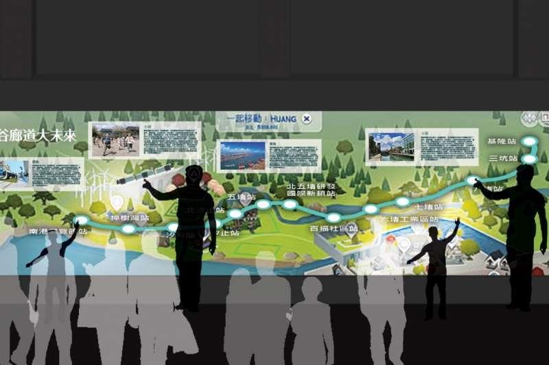 互動牆利用投影方式,呈現基隆河谷廊道大未來展望。(圖/基隆市政府提供)