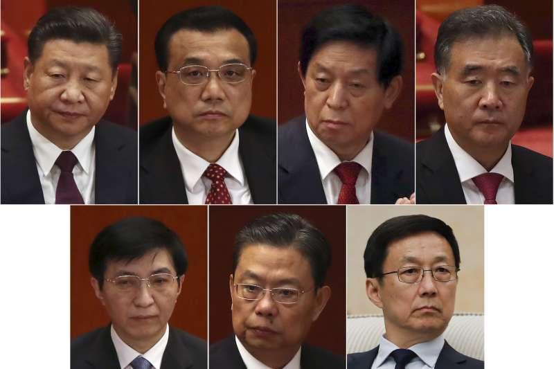 中共十九大一中全會25日召開,以習近平為首的7名中央政治局常委亮相。由左而右、由上至下:習近平、李克強、栗戰書、汪洋、王滬寧、趙樂際、韓正(AP)
