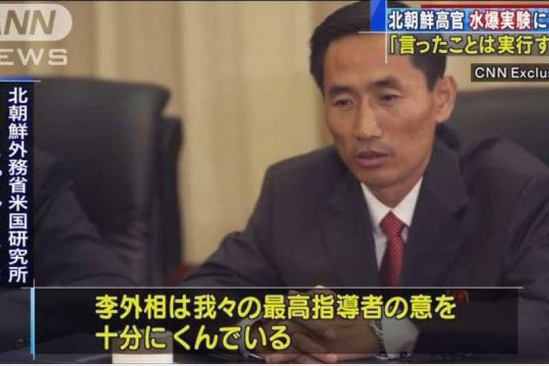 北韓高官李永弼日前接受CNN訪問。(翻攝影片)