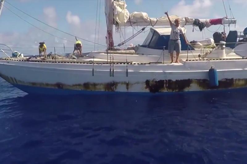 美軍援救在海上漂流五個多月的愛沛兒和芙伊爾巴,還有她們的一對狗兒。