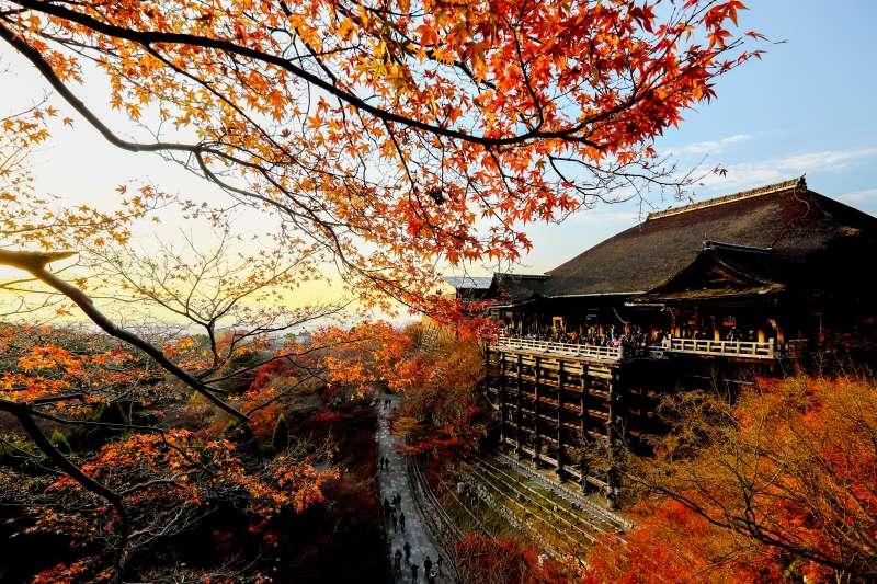 微涼的秋天,配上滿山橘紅的楓葉,為京都更添一絲詩意。(圖/Ian Hsu@Flickr)