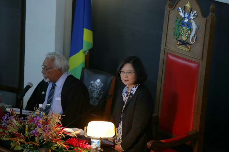 2017-11-02-總統蔡英文於索羅門群島國會發表演說。(總統府提供)