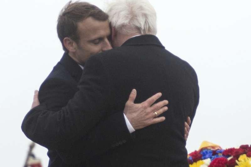 第一次世界大戰古戰場,哈特瑪尼斯威爾庫夫山(Hartmannswillerkopf),法國總統馬克宏與德國總統史坦因邁爾共同紀念停戰99周年(AP)