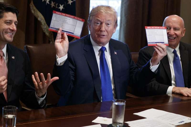 川普稅改:川普認為減少富人和企業稅,可以帶動美國企業回流(AP)