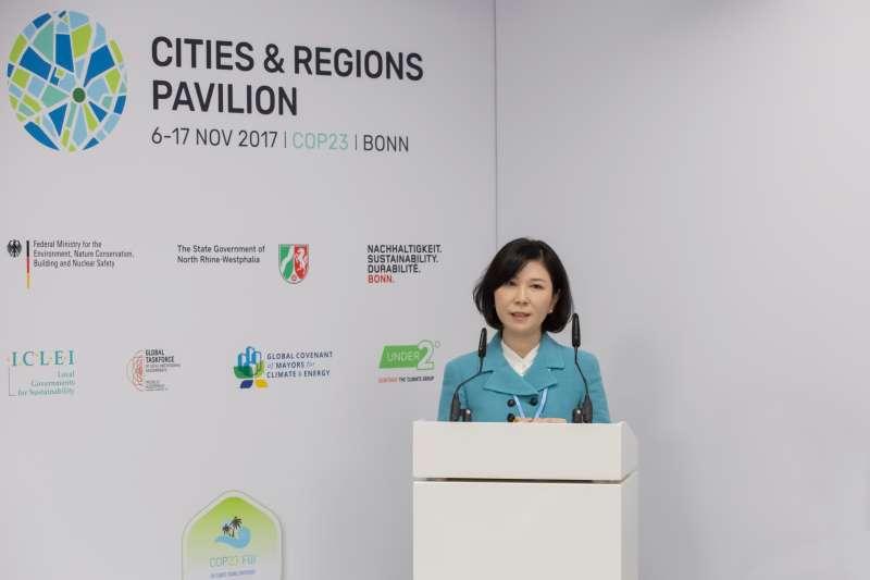 台達電子文教基金會執行長郭珊珊受ICLEI邀約,於COP23周邊會議中分享台達經驗(圖/台達提供)