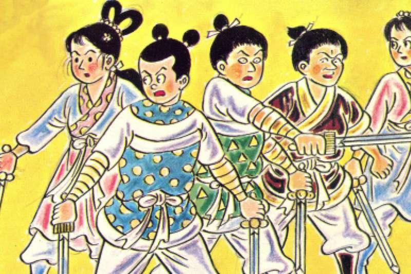 葉宏甲於一九五八年推出第一部諸葛四郎作品《大戰魔鬼黨》,立即造成大轟動,而後《決戰黑蛇團》、《大鬥雙假面》、《大破山嶽城》先後問世,是諸葛四郎氣勢最旺的時代。(資料照,取自童年漫畫)
