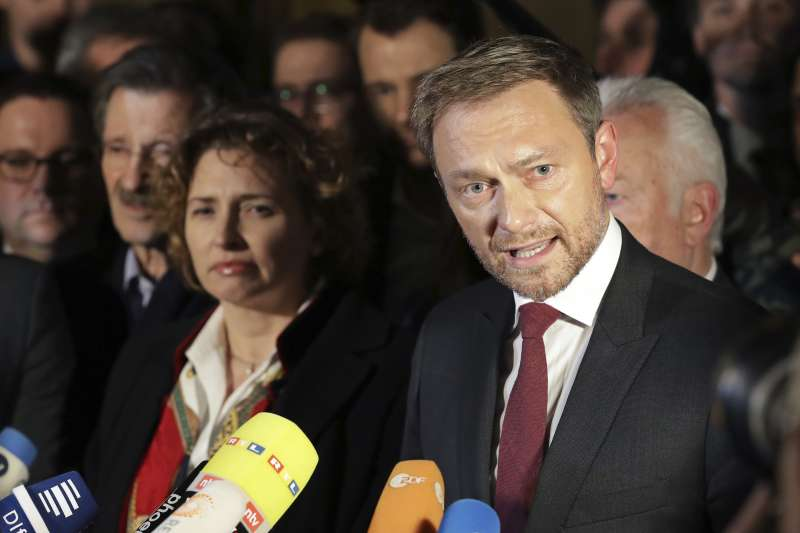 德國組閣:自由民主黨黨魁林德納稱,沒有信任基礎而退出協商(AP)