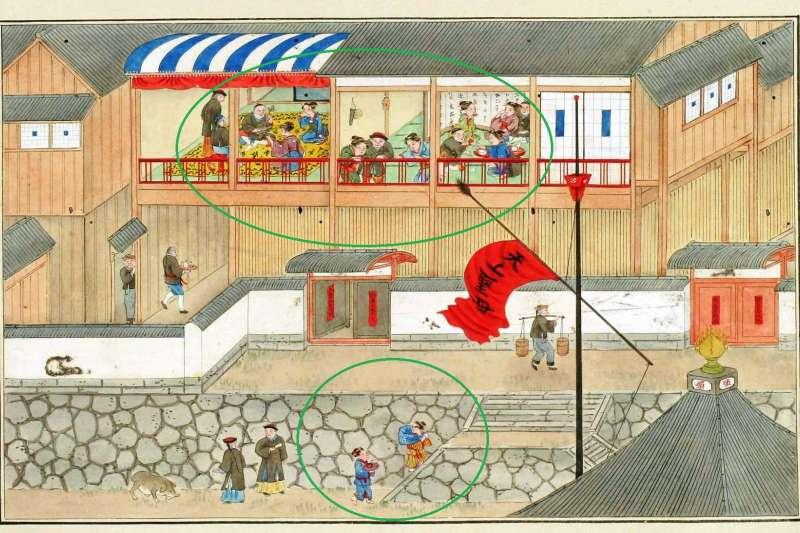 十七世紀日本長崎唐人屋敷的華人。(圖/想想論壇提供)