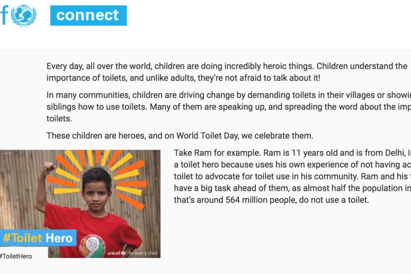一些孩童也加入印度「廁所革命」的行列,推廣廁所的重要性。(聯合國兒童基金會)