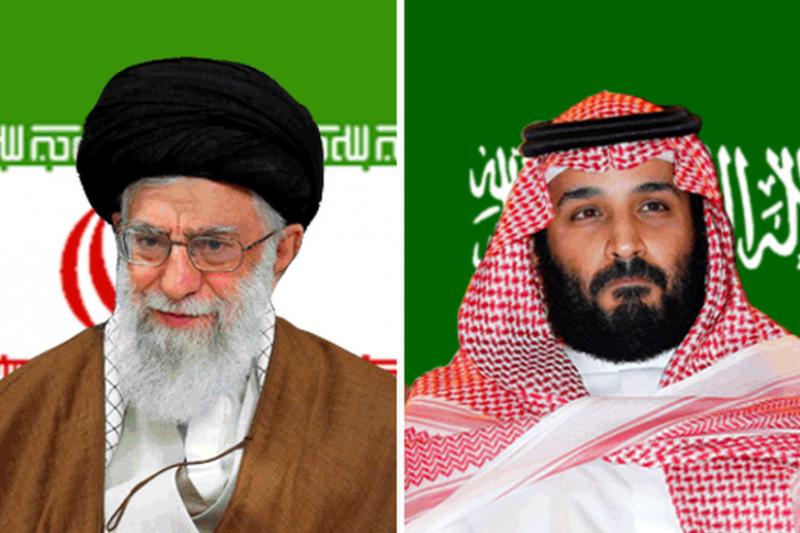 伊朗最高領導人哈米尼(Ayatollah Ali Khamenei)與沙烏地王儲薩勒曼。(BBC中文網)