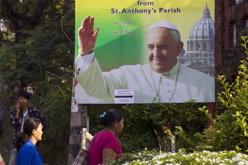 天主教教宗方濟各27日起將陸續造訪緬甸與孟加拉,28日將與翁山蘇姬會面。(美聯社)