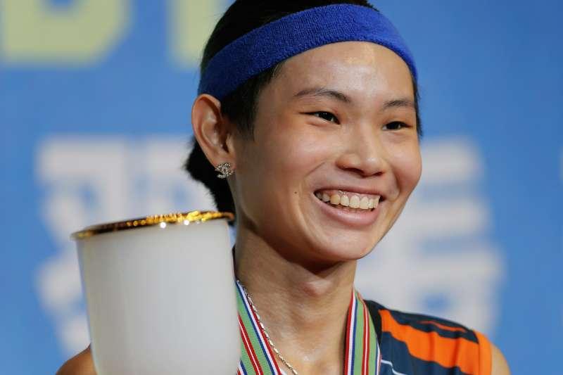 世界球后戴資穎在香港公開賽女單擊敗印度女將辛度(Pusarla Sindhu),衛冕冠軍寶座(AP)