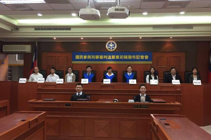 司法院3公布國民法官制度草案,並現場模擬國民參與審判法庭。(司法院提供)