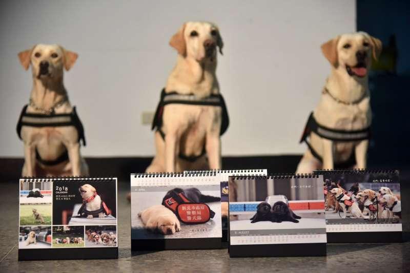 新北警犬x導盲犬限定桌曆義賣,萌翻網友「好想要」。(圖/新北市新聞局提供)