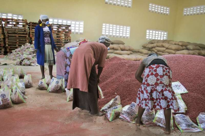聯合國糧食及農業組織的工人將超級豆類分裝成袋,準備發放給烏干達北方的難民營。(美聯社)