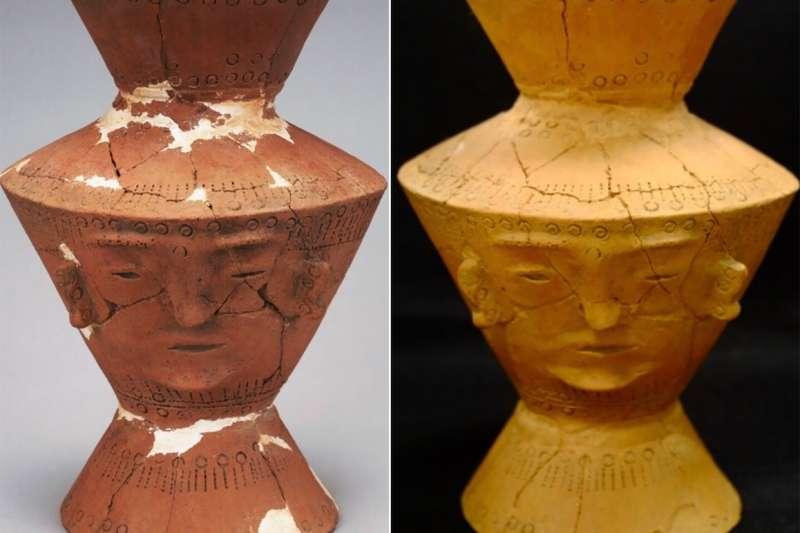 十三行博物館鎮館之寶《人面陶罐》「微整形」前後比較圖,左圖-修復前,右圖-修復後。(圖/十三行博物館提供)