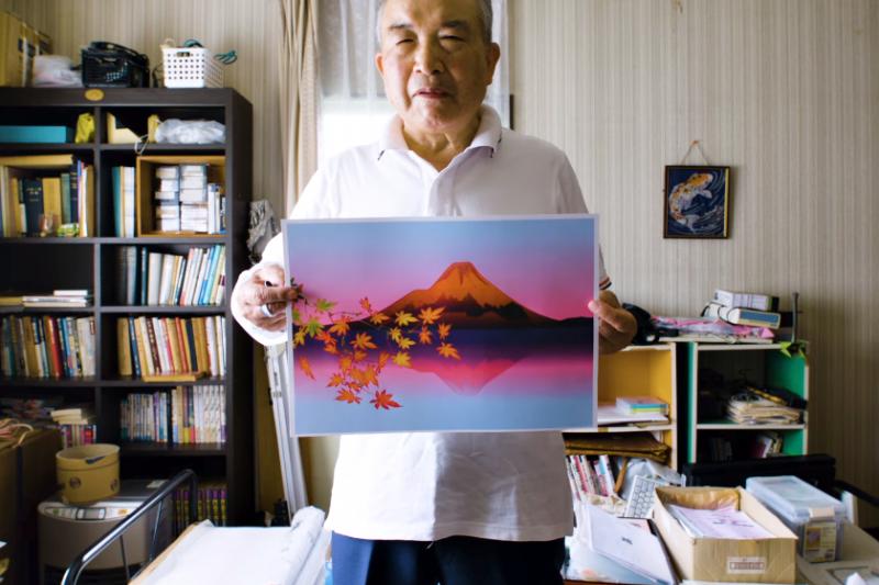 日本77歲阿公堀内辰男退休後,練習用Excel畫出風景畫。(圖/翻攝自youtube)