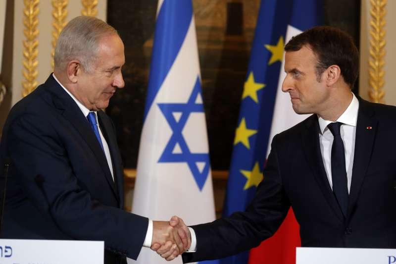 法國總統馬克宏10日與以色列總理納坦雅胡會面,馬克宏批評川普承認耶路撒冷為以首都相當危險。(美聯社)