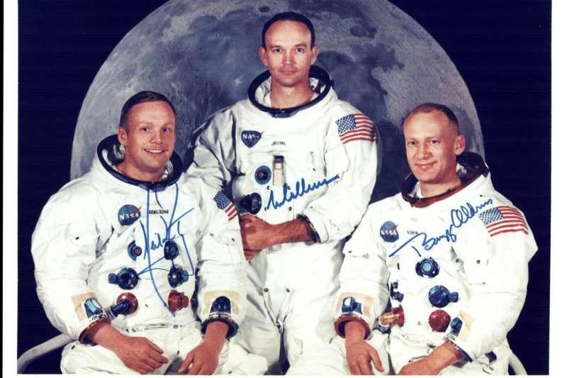 阿波羅11號為人類第一次登月任務,三位太空人左到右分別為阿姆斯壯(Neil Armstrong)、科林斯(Michael Collins)和艾德林(Buzz Aldrin)。(Photo Credit:NASA)