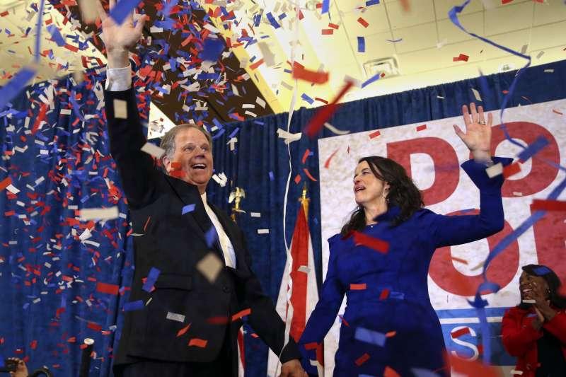 阿拉巴馬州參議員民主黨候選人瓊斯,以不到1%差距贏得選舉。(美聯社)