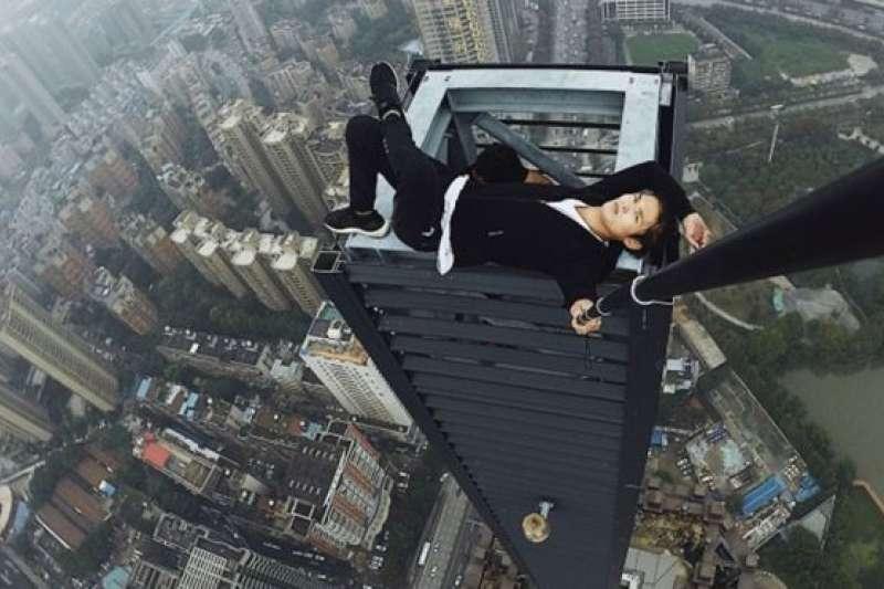 吳永寧的高空自拍。(BBC中文網)