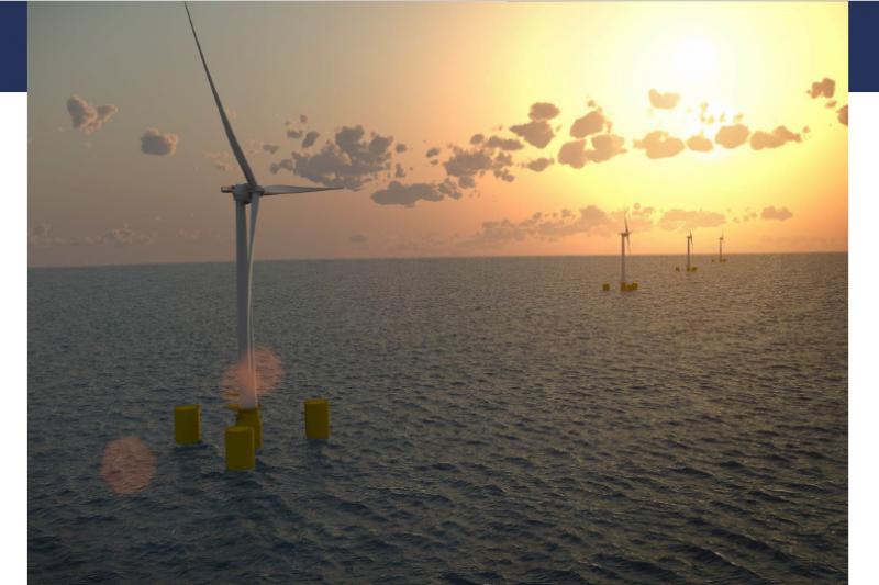 歐風的開發部門經理克里斯多佛(Christophe Chabert),熱情地展示辦公室裡大幅的離岸風場示意圖。(EOLFI提供)