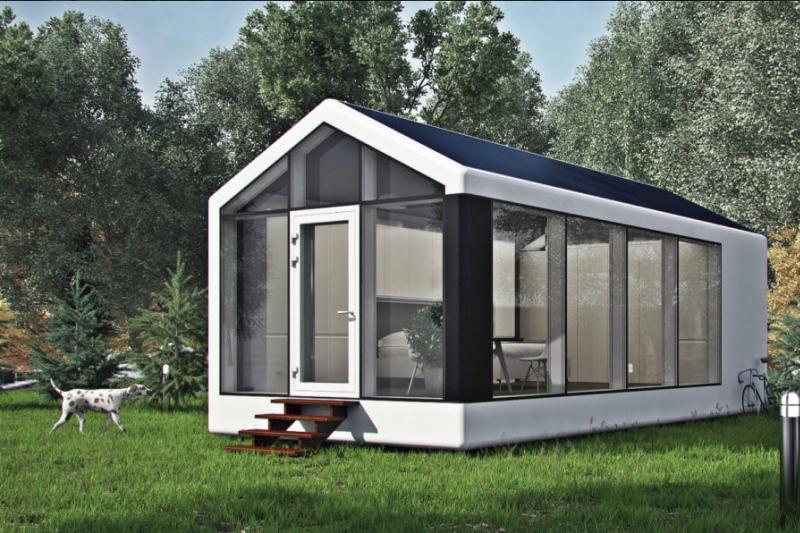 烏克蘭新創建築公司的3D列印機器人,只要8小時就能印出一幢小屋。(圖/翻攝自passivdom官網)