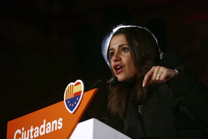 支持統一的「公民黨」領袖艾莉瑪達絲(Ines Arrimadas)。(美聯社)