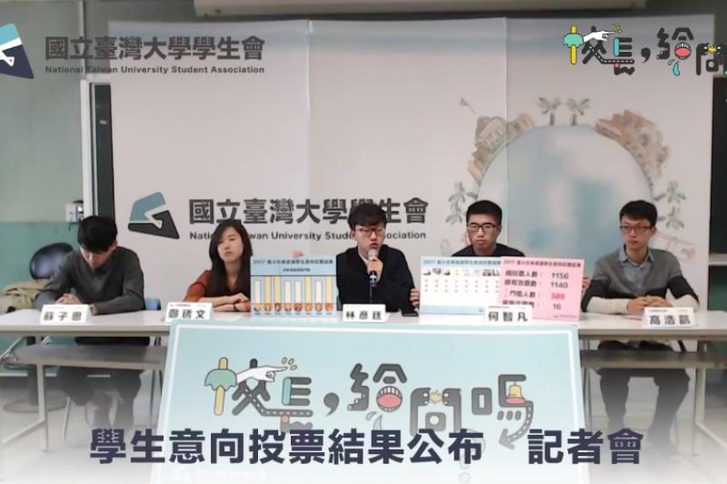 台大學生會公布校長遴選學生意向投票結果。(取自臺大學生會 NTUSA臉書粉專)