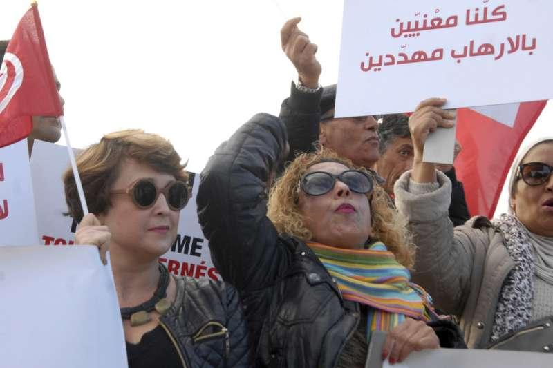 突尼西亞革命之後,仍不時發生恐怖攻擊事件,民眾示威抗議要求政府拿出對策(AP)