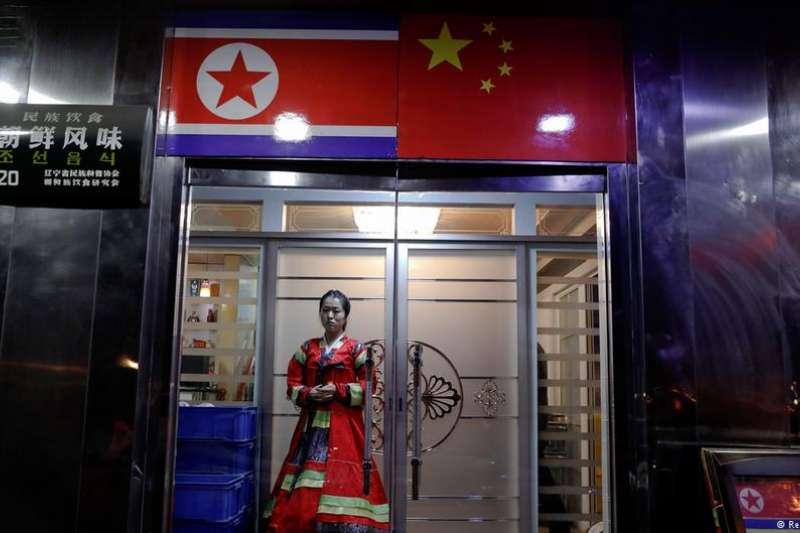 位於丹東的北韓餐館,這座城市和北韓僅隔著一條鴨綠江。(德國之聲)