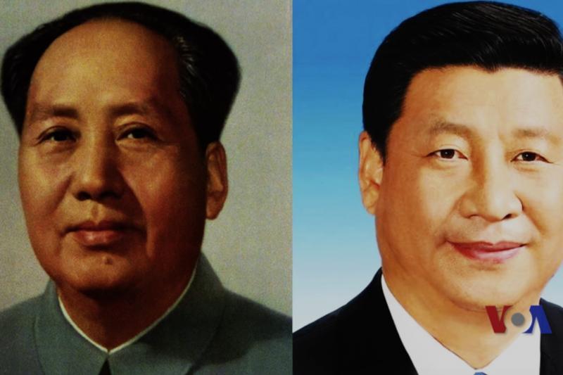 毛澤東與習近平。(美國之音)