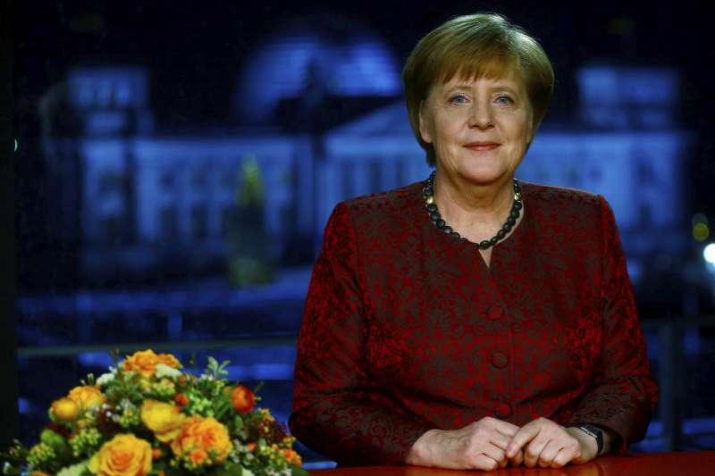 德國總理梅克爾發表2018新年談話。(美聯社)