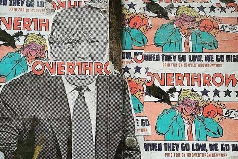 川普上任一周年,逼出了許多來自紐約街頭的怒火,他們不約而同以藝術表達抗議,成為當地的另類景點。(圖/取自Overthrow Boxing fb)