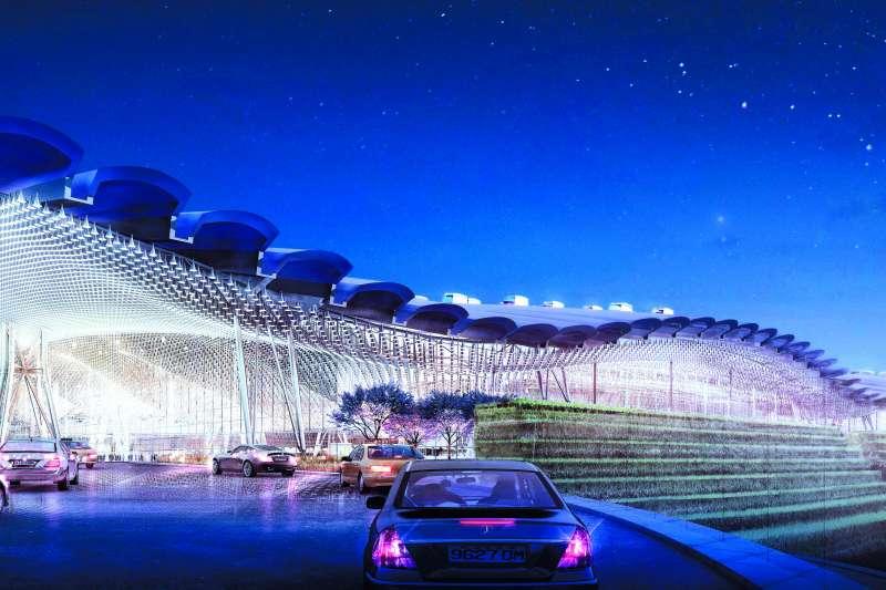 羅傑斯為桃機三航站設計出台灣傳統閩南家屋片片「瓦頂」造型的大屋頂,波浪頂再開了無數的小天窗。(Rogers Stirk Harbour + Partners網站提供)