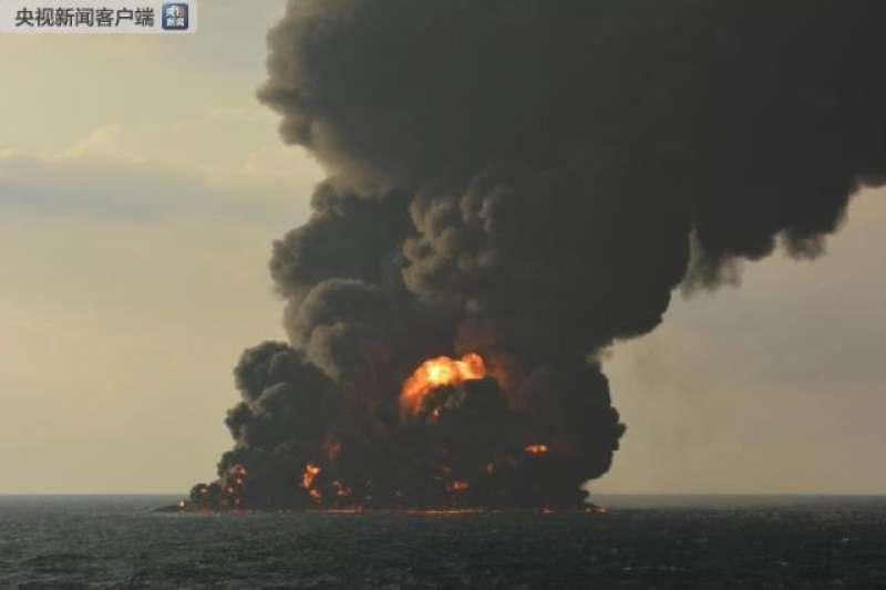 巴拿馬籍伊朗油輪「桑吉輪」(Sanchi)6日在東海與香港貨輪相撞,14日發生大爆炸並沉沒。(央視)