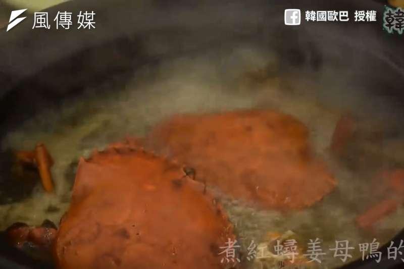韓國人的紅蟳薑母鴨初體驗!超大螃蟹加上香氣四溢的湯頭,讓韓國歐巴讚嘆「真的超好吃」!