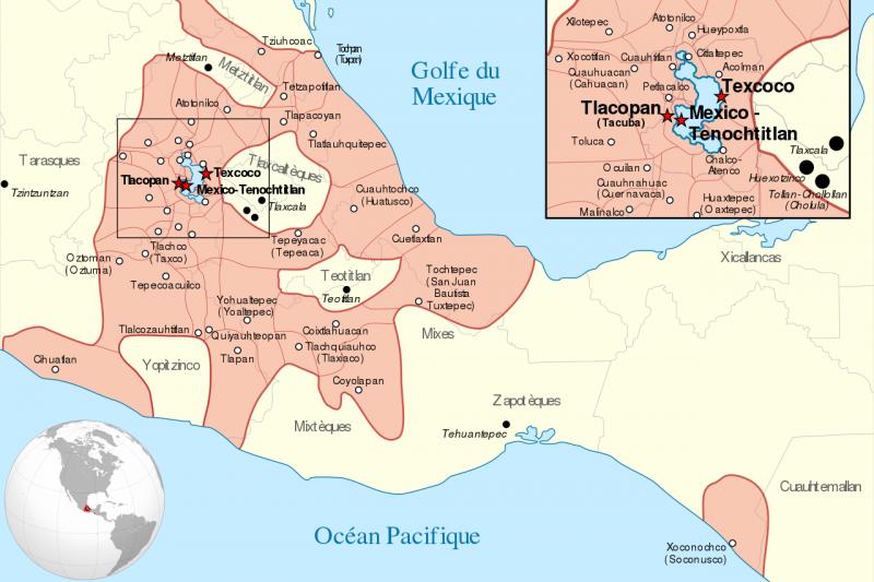 16世紀稱霸中美洲的阿茲提克聯邦。(維基百科公有領域)