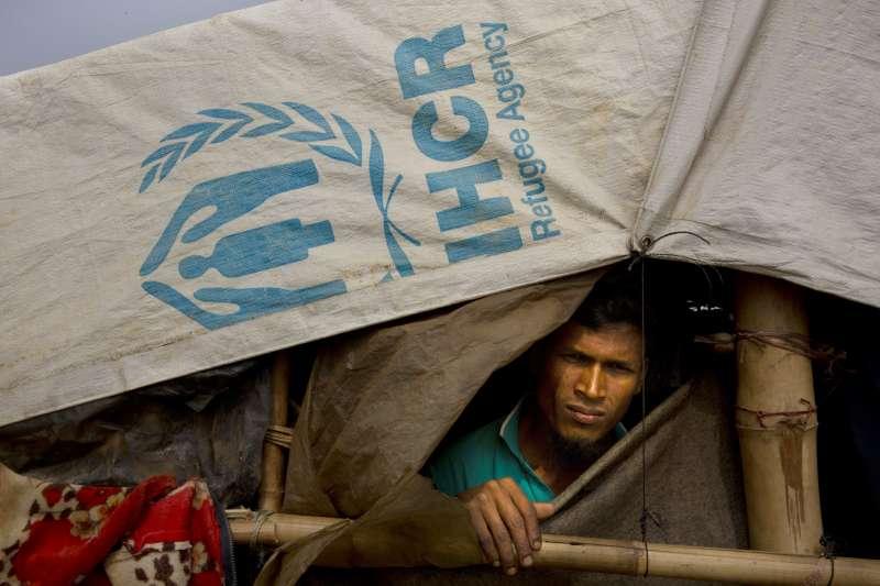 孟加拉難民營的羅興亞難民。(美聯社)
