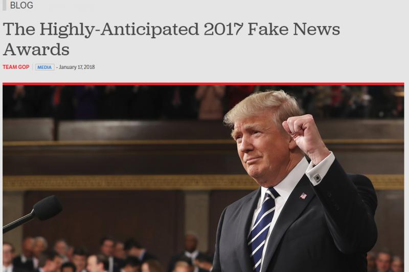 美國總統川普17日在共和黨網站上宣布「年度假新聞獎」。(截自網站)