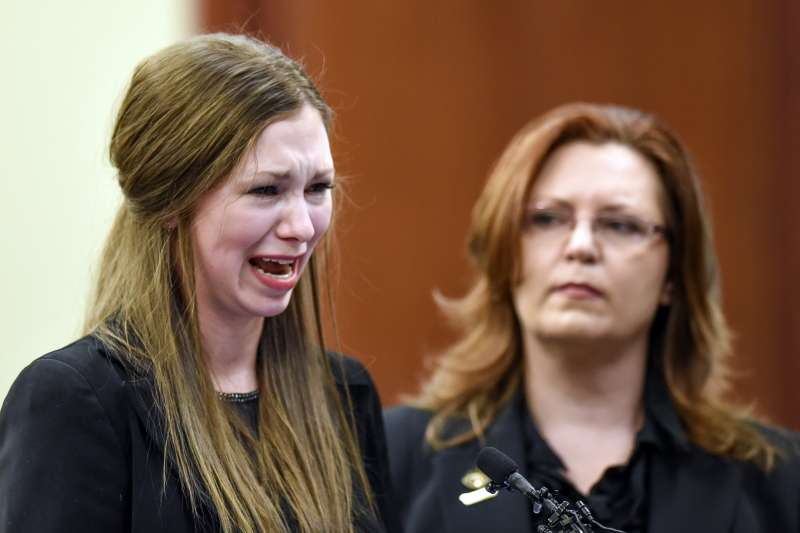 美國女子體操隊前任隊醫納薩爾為性侵獸行受審,受害人出庭作證泣不成聲(AP)