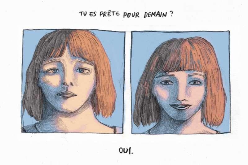 劉倩帆獲法國安古蘭國際漫畫節數位漫畫獎第二名,圖為其得獎作品《潛水》(Plongée)。該漫畫內文為法文,大意是一位聽障女孩等待著她人生中重要的一天。(取自劉倩帆作品網站)